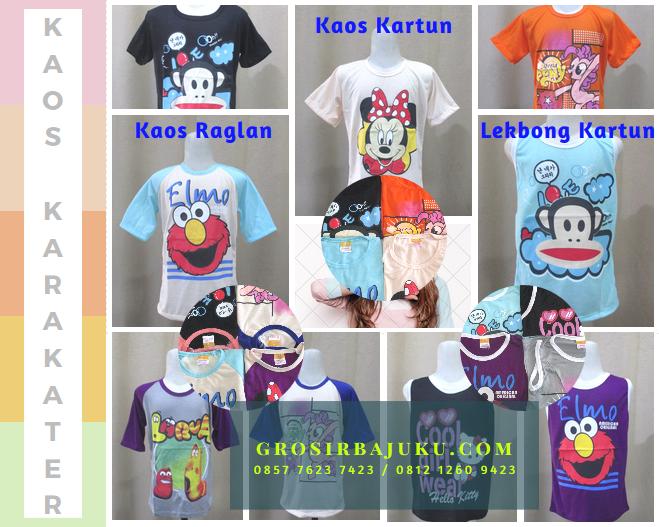 Sentra Grosir Kaos Karakter Anak Model Raglan & Lekbong Murah